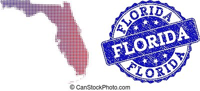 Halftone Gradient Map of Florida State and Distress Stamp Composition
