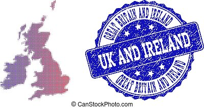 Halftone Gradient Map of Great Britain and Ireland and Scratched Seal Composition