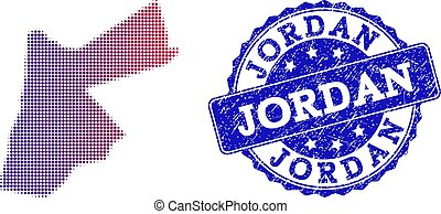 Halftone Gradient Map of Jordan and Scratched Stamp Collage