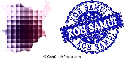 Halftone Gradient Map of Koh Samui and Textured Stamp Collage