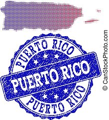Halftone Gradient Map of Puerto Rico and Grunge Stamp Collage