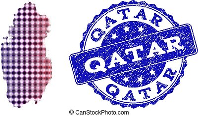 Halftone Gradient Map of Qatar and Distress Seal Collage