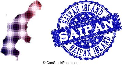 Halftone Gradient Map of Saipan Island and Grunge Stamp Composition