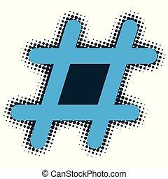 An isolated halftone style hashtag.