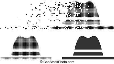 halftone, hoedje, pixel, het desintegreren, pictogram