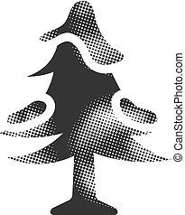 halftone, icône, arbre, -