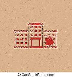 halftone, icône, -, bâtiment