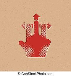 halftone, icône, -, geste