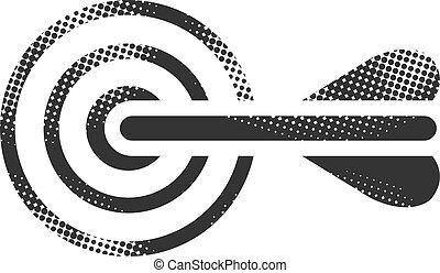 Halftone Icon - Arrow bullseye - Arrow bullseye icon in...