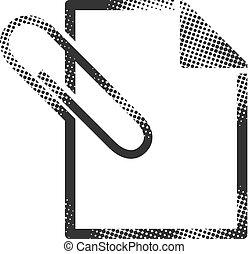 Attachment file icon in halftone style. Black and white monochrome vector illustration.