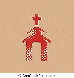 Church icon in halftone style. Grunge background vector illustration.