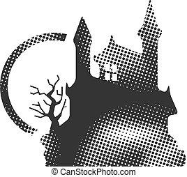 Halftone Icon - Dark castle