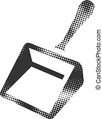 Dustpan icon in halftone style. Black and white monochrome vector illustration.