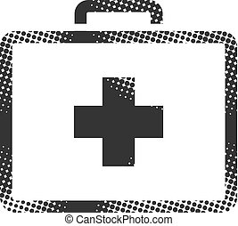 Medical case icon in halftone style. Black and white monochrome vector illustration.