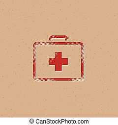 Medical case icon in halftone style. Grunge background vector illustration.