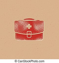 Vintage medical case icon in halftone style. Grunge background vector illustration.