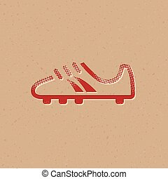 Soccer Shoe icon in halftone style. Grunge background vector illustration.