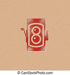 Halftone Icon - TLR camera - Twin lens reflex camera icon in...