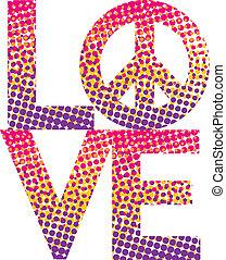 Halftone LOVE-Peace Symbol - Graphic dot haltone filling the...