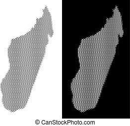 Halftone Madagascar Island Map - Halftone round pixel...