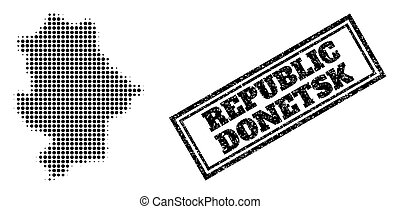 Halftone map of Donetsk Republic, and rubber watermark. Halftone map of Donetsk Republic constructed with small black round pixels. Vector watermark with grunge style, double framed rectangle,
