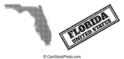 Halftone Map of Florida State and Grunge Framed Stamp Seal