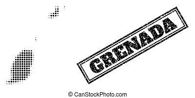 Halftone Map of Grenada Islands and Grunge Framed Stamp Seal