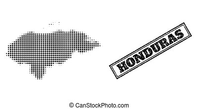 Halftone Map of Honduras and Grunge Framed Stamp Seal