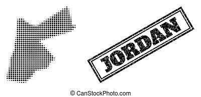 Halftone Map of Jordan and Distress Framed Stamp