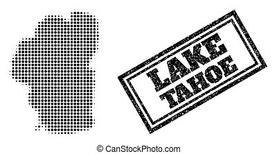 Halftone map of Tahoe Lake, and grunge seal. Halftone map of Tahoe Lake made with small black spheric dots. Vector seal with grunge style, double framed rectangle, in black color.