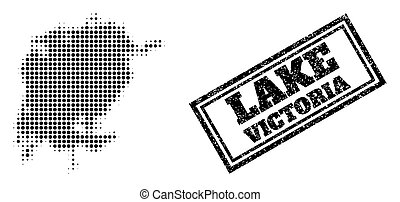 Halftone Map of Victoria Lake and Grunge Framed Stamp Seal