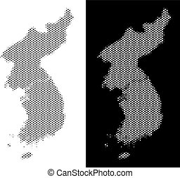 Halftone North And South Korea Map