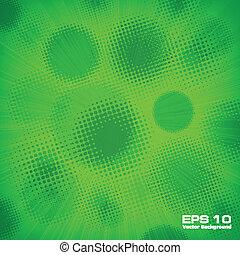 halftone, padrão, em, verde