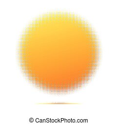 Halftone pattern background, round spot shapes, vintage or retro graphic with place for your text. Halftone digital effect. Graphic symbol of the sun, a yellow disk of the points