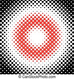 Halftone pattern - Black halftone pattern with red center...