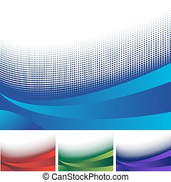 halftone pattern wave design element in red, blue, green and...