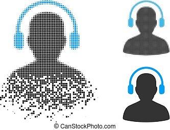 halftone, pixelated, desintegração, operador, escutar, ícone