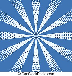 halftone rays background in blue color