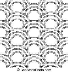 Halftone round black seamless background oriental scale curve line