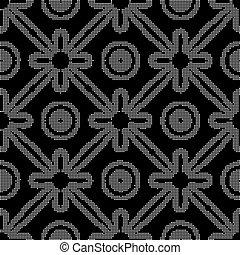 Halftone round black seamless background round cross ribbon flower