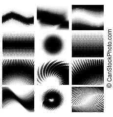 Set of different shape halftone vector background