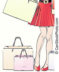 Halftone shopping woman legs - Cartoon woman's legs with...