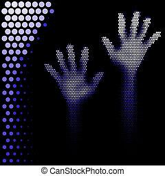 halftone, silueta, mãos