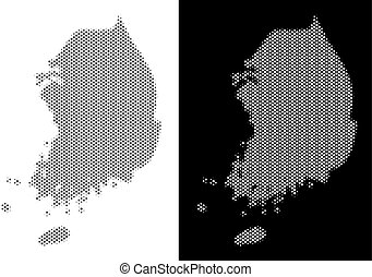 Halftone South Korea Map