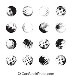 halftone spheres, design elements