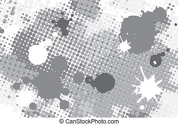 halftone spot grunge background - halftone black and white ...