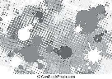 halftone spot grunge background - halftone black and white ...