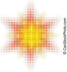 Halftone sun. - Orange halftone sun. Vector illustration. .