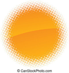 Halftone sun. - Orange halftone sun. Vector illustration.