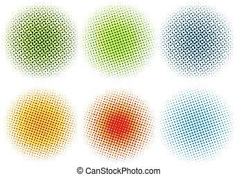 halftone, színes, vektor, ékezetez